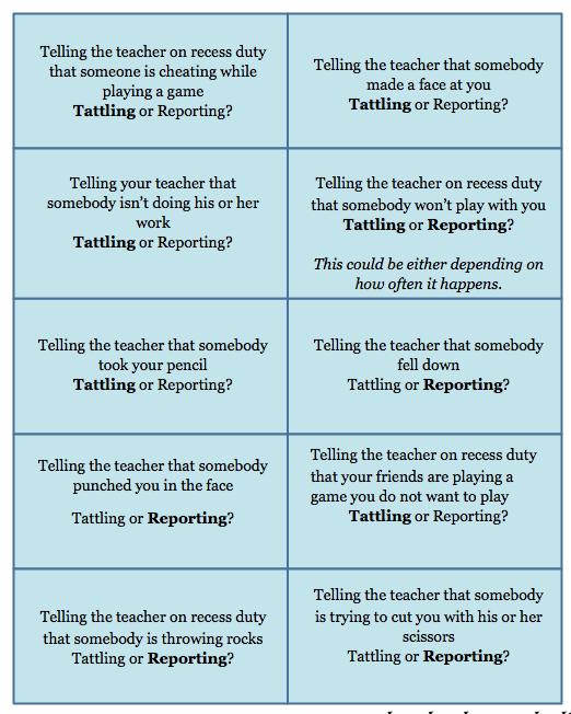 Tattling Versus Reporting K 1st Grade Lessons